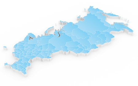subdivision: New map of the Russian Federation and Crimea. 3D