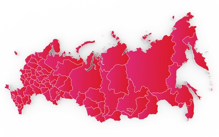 subdivisions: New map of the Russian Federation and Crimea. 3D