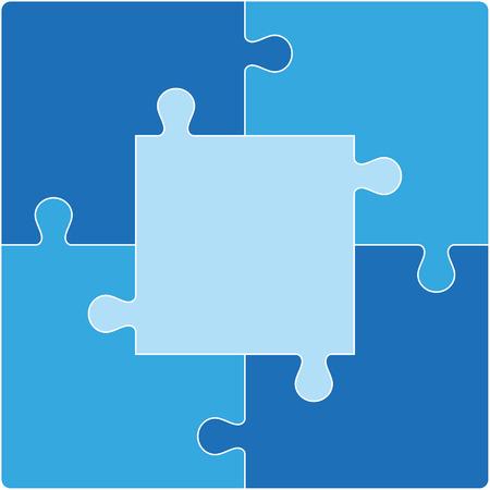 Kleur puzzel set van vijf stuks. Stock Illustratie