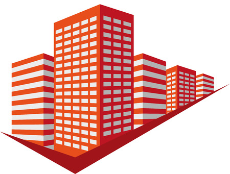 skyscrapers: Red sign with skyscrapers block.  Illustration