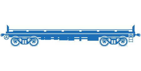railcar: Open platform Railway freight car - Vector railcar Illustration