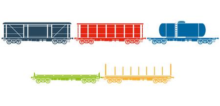 flatcar: Set of Railway freight cars - railcars - Vector illustration