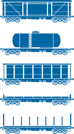 wagon wheel: Set of Railway freight cars - railcars - Vector illustration