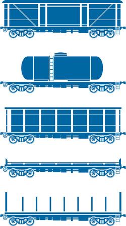 Set of Railway freight cars - railcars - Vector illustration