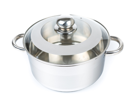 cookware: Metal stock pot isolated on white. Cookware Stock Photo