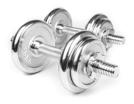 levantar peso: Pesas de acero para el levantamiento de pesas. Aislado en blanco Foto de archivo