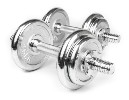 weight weightlifting: Steel Dumbbells for weightlifting. Isolated on white Stock Photo