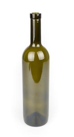 bouteille de vin: Verre vert bouteille de vin isolé sur blanc