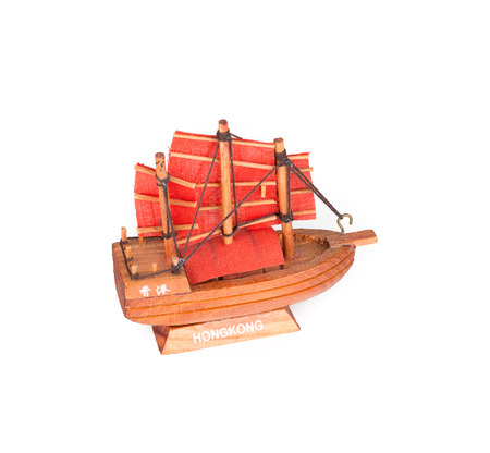 ship with gift: Small Souvenir Ship - Hong Kong Isolated on white