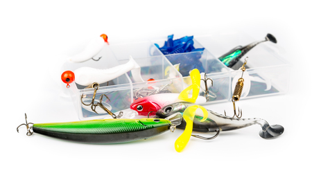 baits: Fishing baits set isolated on white background Stock Photo