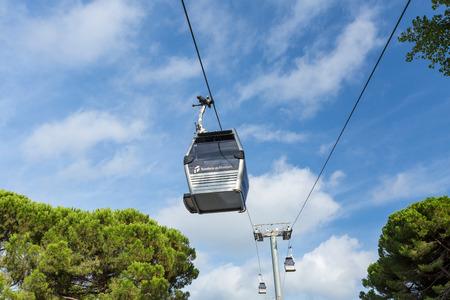 montjuic: Montjuic Funicular Teleferic Cableway in Barcelona, Spain