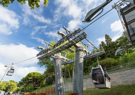 montjuic: Barcelona - SPAIN, August 25 2014: Montjuic Funicular Teleferic Cableway in Barcelona, Spain