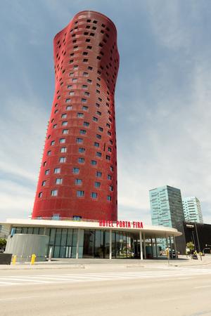 fira: Barcelona, SPAIN - AUGUST 25, 2014: Hotel Porta Fira Modern Building