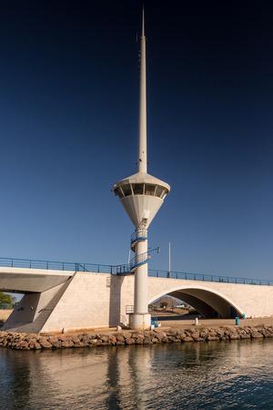 drawbridge: View of Drawbridge and Control Tower in La Manga, Spain Stock Photo