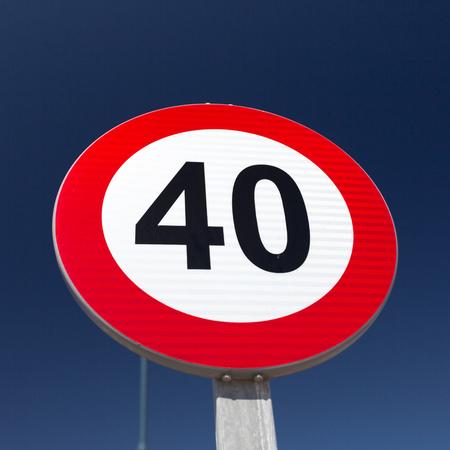 speed limit sign: European Speed limit sign 40 km per hour