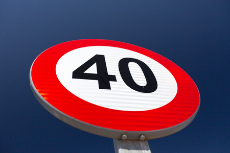 km: European Speed limit sign 40 km per hour