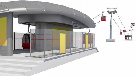 索道駅 - 白で隔離の 3 D イラストレーション