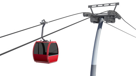 cableway: 3D illustration of Cableway - Isolated on white Stock Photo