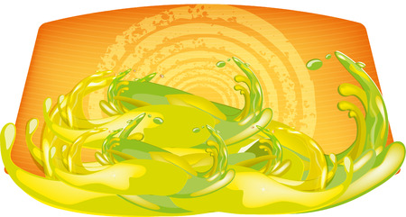 color mixing: color splashes of juice over color background