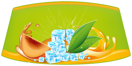 ice cubes: color splashes of juice and ice cubes