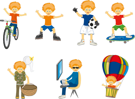 situations: little boy in different situations. vector illustration