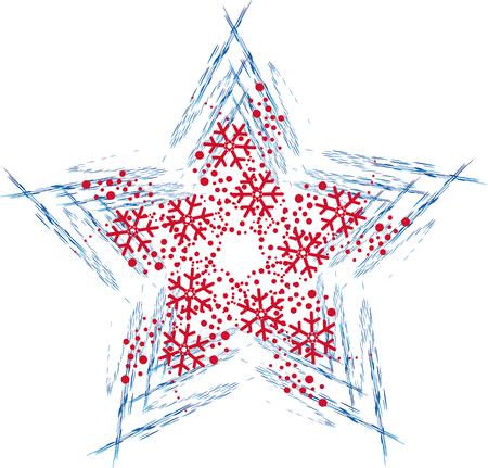 Illustrazione della stella blu e rosso di Natale con i fiocchi di neve