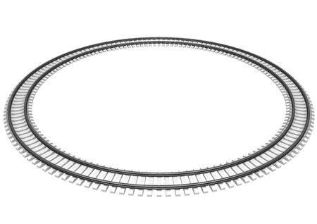 railroad track: 3D Illustration of a Single looped railroad track isolated on white