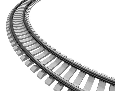 railroad track: 3D Illustration of a Single curved railroad track isolated on white