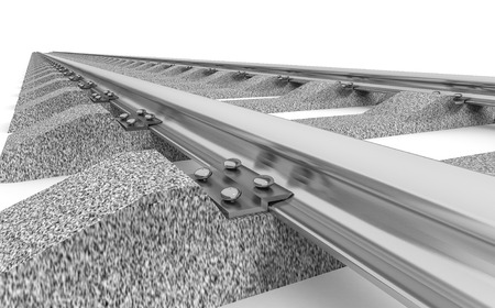 railroad track: 3D Illustration of a straight railroad track isolated on white