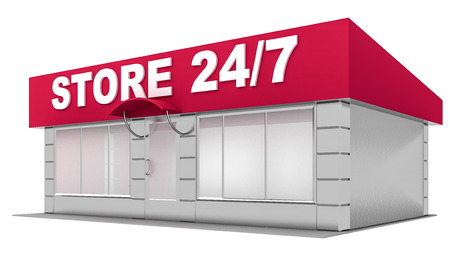 shop show window: 3D Illustration of store isolated on white background