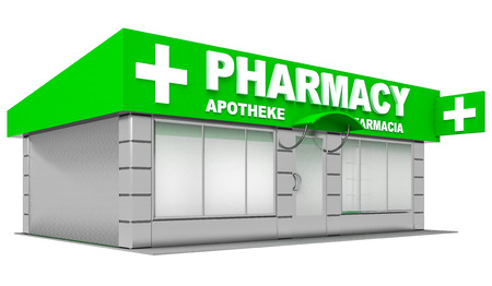 shopfront: 3D Illustration of pharmacy store isolated on white background Stock Photo