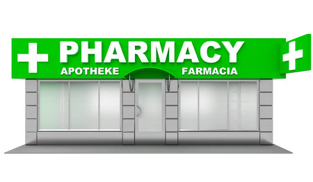 boutique display: 3D Illustration of pharmacy store isolated on white background Stock Photo