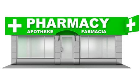 shopfront: 3D Illustration of pharmacy store isolated on white background Stock Photo