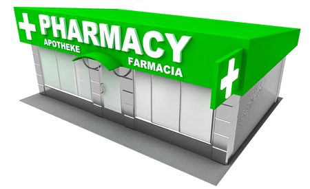 pharmacy store: 3D Illustration of pharmacy store isolated on white background Stock Photo