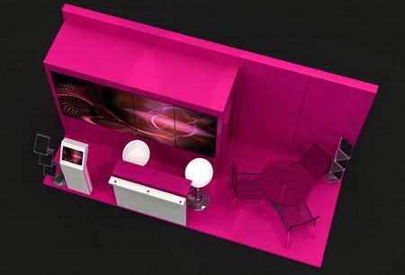 exhibition stand: 3D illustration of Exhibition Stand on dark background