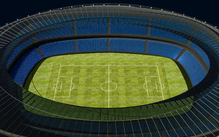 grandstand: 3D illustration of a football stadium with green field Stock Photo
