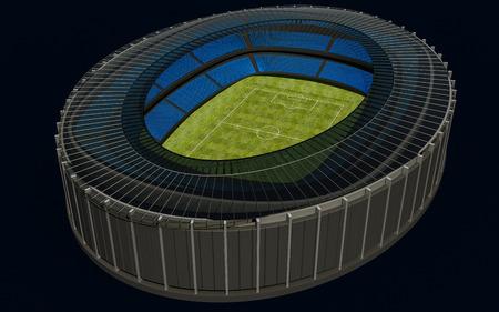 football stadium: 3D illustration of a football stadium with green field Stock Photo
