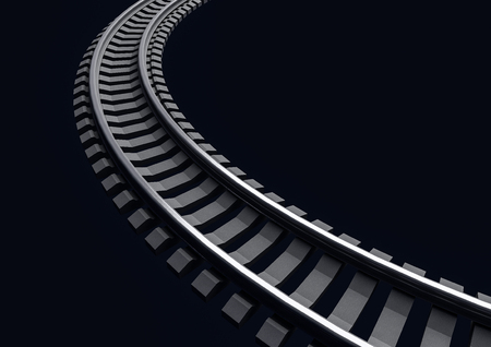 railroad track: 3D Illustration of a Single curved railroad track on dark background
