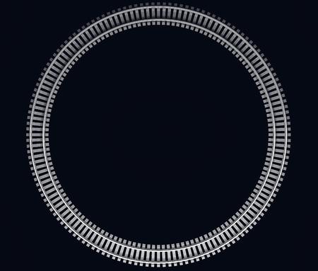 railroad track: 3D Illustration of a Single looped railroad track on dark background