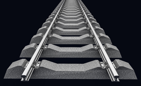railroad track: 3D Illustration of a straight railroad track on dark background
