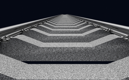 railroad: 3D Illustration of a straight railroad track on dark background