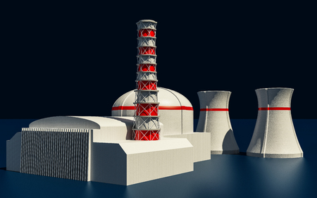 fusion: 3D Illustration of Nuclear power station on dark background Stock Photo