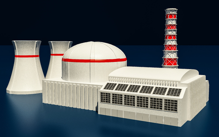 nuclear power station: 3D Illustration of Nuclear power station on dark background Stock Photo