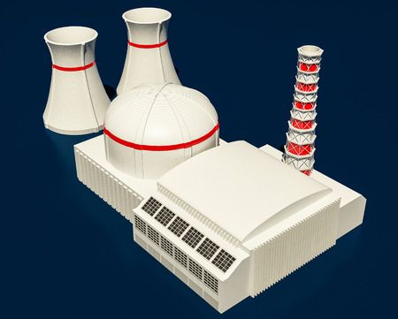 power station: 3D Illustration of Nuclear power station on dark background Stock Photo