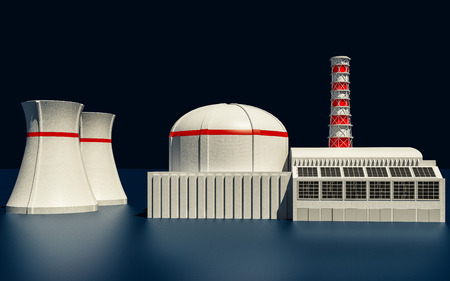 3D Illustration of Nuclear power station on dark background Stock Photo