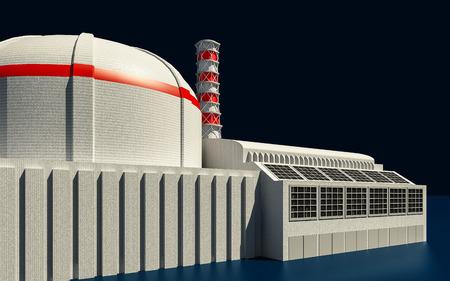 radioactivity: 3D Illustration of Nuclear power station on dark background Stock Photo