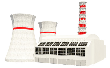 fusion: 3D Illustration of Nuclear power main building