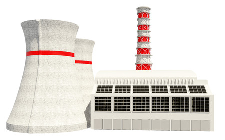 electric generating plant: 3D Illustration of Nuclear power main building