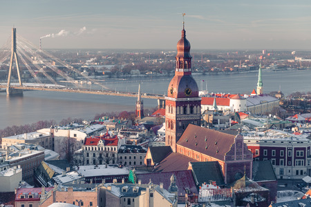bird's eye view: Latvias Capital - Riga from a birds eye view at winter