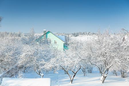 snowfall: Country houses after snowfall at january morning